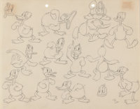 Daffy Duck Model Sheet Drawing Original Art (Warner Brothers, 1940's)