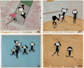 Animation Art:Production Cel, Ballet Oop Original Production Cels with Key Master and Master Backgrounds Group of 4 (UPA, 1954). ... (Total: 4 Original Art)