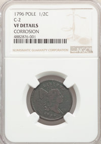 1796 1/2 C With Pole, C-2, B-2, High R.4, BN NGC Details.(PCGS# 35098)