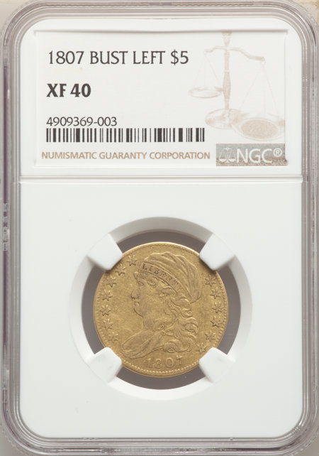 1807 $5 Bust Left, MS 40 NGC