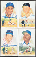 Baseball Collectibles:Others, Mickey Mantle, Ted Williams & Two More Signed Perez-Steele Cards.... (Total: 4 items)