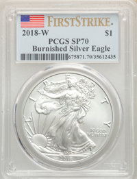 2018-W $1 Silver Eagle, Burnished, First Strike SP70 PCGS. PCGS Population: (3778). NGC Census: (0)