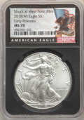 2018-W $1 Silver Eagle, Struck at West Point, Early Releases MS70 NGC. NGC Census: (0). PCGS Population: (11821). MS70...