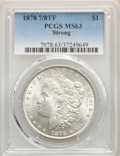 Morgan Dollars, 1878 7/8TF $1 Strong MS63 PCGS. PCGS Population: (3342/2228). NGC Census: (1960/1228). CDN: $225 Whsle. Bid for problem-fre...