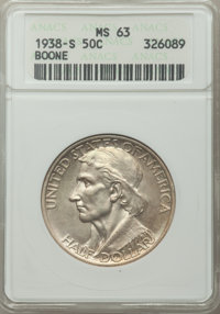 1938-S 50C Boone MS63 ANACS. CDN: $285 Whsle. Bid for problem-free NGC/PCGS MS63. Mintage 2,100