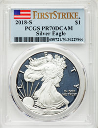 2018-S $1 Silver Eagle, First Strike PR70 Deep Cameo PCGS. PCGS Population: (4266). NGC Census: (0)....(PCGS# 680721)