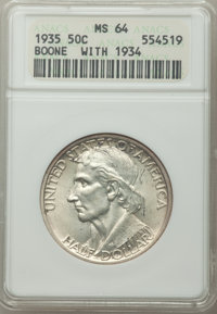 1935/34 50C Boone MS64 ANACS. CDN: $130 Whsle. Bid for problem-free NGC/PCGS MS64. Mintage 10,008