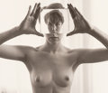 Photographs, Ruth Bernhard (American, 1905-2006). Billie with Glass, 1971. Gelatin silver, printed later. 7-1/2 x 8-7/8 inches (19.1 ...