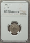 Shield Nickels: , 1868 5C XF40 NGC. NGC Census: (20/863). PCGS Population: (37/1057). XF40. Mintage 28,800,000. ...