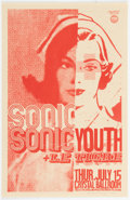 Music Memorabilia:Posters, Sonic Youth/Le Tigre Crystal Ballroom Concert Poster Signed by Designer Mike King (2004)....