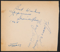 Diana Ross and the Supremes Signed and Inscribed Paper