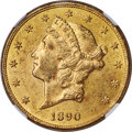 1890-CC $20 MS60 NGC. Variety 1-A. The mintmark is centered between the Y and D in TWENTY DOLLARS on this variety. The...