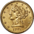 1891-CC $5 MS64 PCGS. Variety 2-A. Frosty yellow-gold luster complements bold devices on this near-Mint 1891-CC half ea...