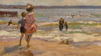 American School (20th Century) At the Beach Oil on canvas 10-1/4 x 18 inches (26.0 x 45.7 cm)