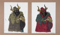 Animation Art:Concept Art, The Black Cauldron Horned King Concept Art by Andreas Deja and John Hurt Photo Group of 3 (Walt Disney, 1985).... (Total: 3 Items)