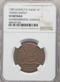 1787 Fugio Cent, STATES UNITED, 4 Cinquefoils, Pointed Rays, -- Environmental Damage -- NGC Details. VF. NGC Census: (33...
