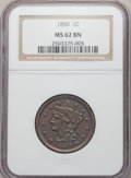 Large Cents: , 1850 1C MS62 Brown NGC. NGC Census: (43/334). PCGS Population: (37/339). CDN: $210 Whsle. Bid for problem-free NGC/PCGS MS6...