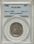 Proof Seated Quarters: , 1888 25C PR61 PCGS. PCGS Population: (9/189). NGC Census: (9/169). PR61. Mintage 832. ...