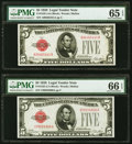 Fr. 1525 $5 1928 Legal Tender Notes. Two Examples. PMG Gem Uncirculated 66 EPQ; Gem Uncirculated 65 EPQ