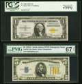 Small Size:World War II Emergency Notes, Fr. 2306 $1 1935A North Africa Silver Certificate. PCGS Superb Gem New 67PPQ;. Fr. 2307 $5 1934A North Africa Silver Certi... (Total: 2 notes)