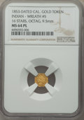 California Gold Charms, 1853-Dated California Gold Token, Indian - Wreath #5, 16 Stars, Octagonal, MS64 Prooflike NGC....