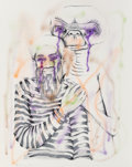 Works on Paper, Harmony Korine (b. 1974). Untitled (ET and Osama), 2005. Acrylic, airbrush, and screenprint on paper. 20 x 16 inches (50...