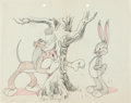 Animation Art:Concept Art, The Heckling Hare Bugs Bunny and Willoughby Concept/Layout Drawing (Warner Brothers, 1941). ...