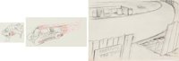 Streamlined Greta Green Junior and Stock Car Animation Drawings Sequence of 90 (Warner Brothers, 1937). ... (Total: 90 O...