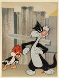 Animation Art:Production Cel, Peck Up Your Troubles/Ain't it Ducky Sylvester Cat and Woodpecker Production Cel Setup on a Production Background (War...