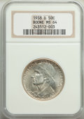 1938-D 50C Boone MS64 NGC. NGC Census: (109/339). PCGS Population: (198/573). CDN: $300 Whsle. Bid for problem-free NGC/...