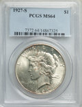1927-S $1 MS64 PCGS. PCGS Population: (1586/93). NGC Census: (1039/77). CDN: $750 Whsle. Bid for problem-free NGC/PCGS M...