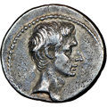 Ancients:Roman Imperial, Ancients: Octavian, as Sole Imperator (31-27 BC). AR denarius (19mm, 3.80 gm, 6h). NGC XF 5/5 - 2/5, Fine Style, graff...