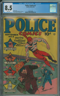 Police Comics #2 (Quality, 1941) CGC VF+ 8.5 White pages