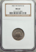 1867 5C No Rays MS64 NGC. NGC Census: (279/134). PCGS Population: (253/111). CDN: $250 Whsle. Bid for problem-free NGC/P...