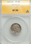 1923-S 5C VF25 ANACS. CDN: $85 Whsle. Bid for problem-free NGC/PCGS VF25. Mintage 6,142,000