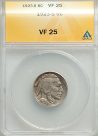 1923-S 5C VF25 ANACS. CDN: $85 Whsle. Bid for problem-free NGC/PCGS VF25. Mintage 6,142,000. ...(PCGS# 3950)