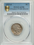 Buffalo Nickels, 1917-S 5C Two Feathers, FS-401 AU50 PCGS. (FS-016.44). PCGS Population: (4/14 and 0/0+). NGC Census: (0/0 and 0/0+). AU50....