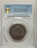 1806 25C -- Cleaned -- PCGS Genuine. XF Details. NGC Census: (20/96 and 0/2+). PCGS Population: (28/152 and 0/3+). XF40...