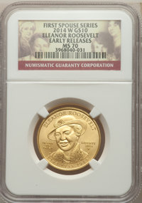2014-W $10 Eleanor Roosevelt Half-Ounce Gold Ten Dollar, Early Releases, MS70 NGC. NGC Census: (0). PCGS Population: (25...