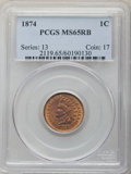 1874 1C MS65 Red and Brown PCGS. PCGS Population: (132/7). NGC Census: (110/24). CDN: $660 Whsle. Bid for problem-free N...