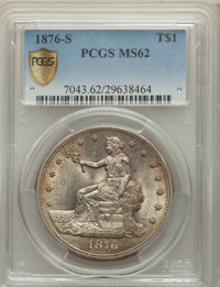1876-S T$1 MS62 PCGS. PCGS Population: (183/258 and 2/14+). NGC Census: (152/211 and 1/0+). MS62. Mintage 5,227,000....(...
