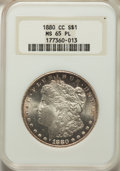 1880-CC $1 MS65 Prooflike NGC. NGC Census: (102/22). PCGS Population: (127/13). CDN: $1,100 Whsle. Bid for problem-free...
