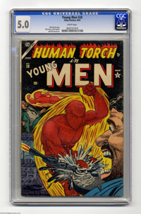 Young Men #28 (Atlas, 1954) CGC VG/FN 5.0 White pages. John Romita Sr., Bill Everett, and Dick Ayers art. Human Torch co...