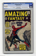 "Silver Age (1956-1969):Superhero, Amazing Fantasy #15 (Marvel, 1962) CGC VG 4.0 Off-white to whitepages. ""Introducing Spider-Man"" ... sounds interesting, eh?..."