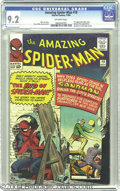 Silver Age (1956-1969):Superhero, The Amazing Spider-Man #18 (Marvel, 1964) CGC NM- 9.2 Off-white pages. Judging from Spidey's cowering stance on this Steve D...