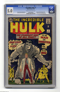 The Incredible Hulk #1 (Marvel, 1962) CGC VG/FN 5.0 Cream to off-white pages. Jack Kirby's masterpiece is one of the mos...