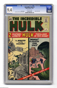 The Incredible Hulk #4 (Marvel, 1962) CGC NM 9.4 Off-white pages. Fantasy as you like it from the classic Marvel team of...