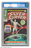 Silver Age (1956-1969):Superhero, The Silver Surfer #1 (Marvel, 1968) CGC NM+ 9.6 Off-white pages. The Sentinel of the Spaceways finally arrived in his own bo...