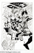Original Comic Art:Splash Pages, Simon Bisley and Kevin Eastman - Bodycount Splash Page Original Art(Image, 1996). Raphael and Casey Jones crash through a s...