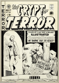Johnny Craig - The Crypt of Terror #17 Cover Original Art (EC, 1950). Certainly one of the most historic pieces of art o...
